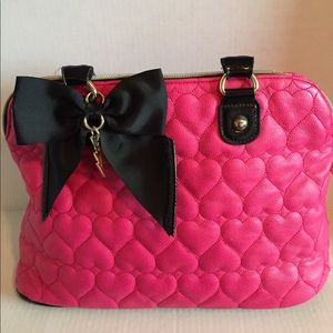 Betsey Johnson Hot Pink Quilted Hearts Bag